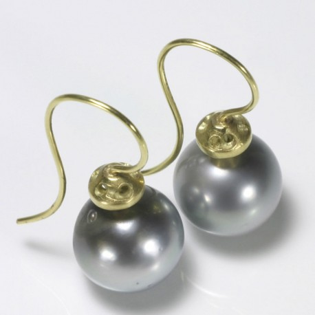 Earrings, 750 gold, tahitian pearls