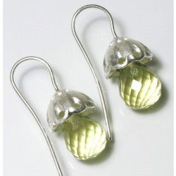 Earrings, 925 silver, pagodas, lemon citrine