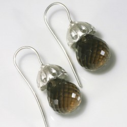 Earrings, 925 silver, pagodas, smoky quartz