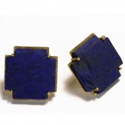 Stud earrings, 750 gold, lapis lazuli