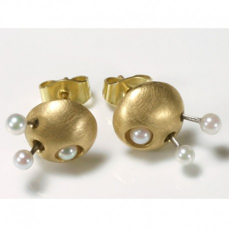 Stud earrings, 750 gold, pearls