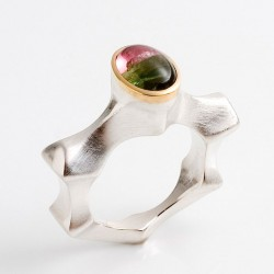 Ring, 925- silver, 900- gold, tourmaline bicolor