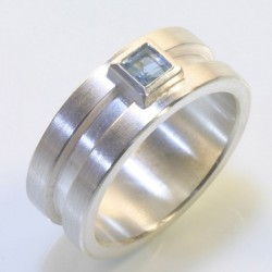 Ring, 925 silver, aquamarine carrée
