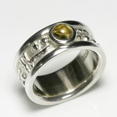 Mining ring, 925 silver, citrine