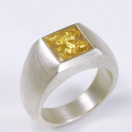 Ring, 925- silver, gold leaf, cold enamel