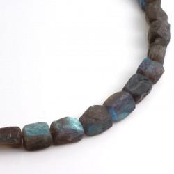 Necklace, labradorite nuggets, 925- silver