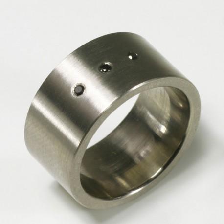 Ring, 500- Palladium, 3 schwarze Diamanten