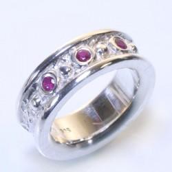 Mining ring, 925 silver, 3 rubies