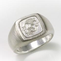 Siegelring, 925- Silber, Palladium, Gravur