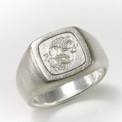 Signet ring, 925 silver, palladium, engraving