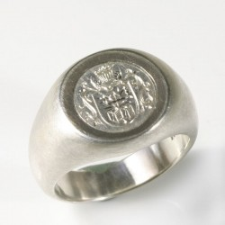 Signet ring, 925 silver, palladium, engraving