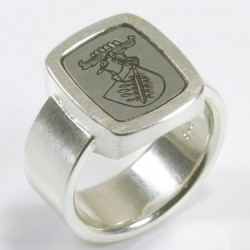 Siegelring, 925- Silber, Stahl, Gravur