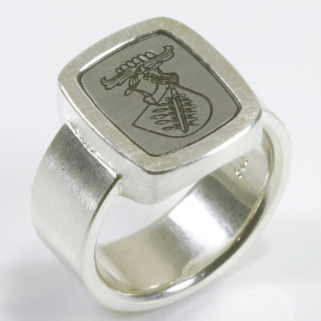 Signet ring, 925 silver, steel, engraving