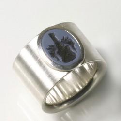 Breiter Siegelring, 925- Silber, Lagenstein, Gravur