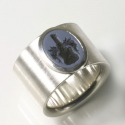 Wide signet ring, 925 silver, layered stone, engraving