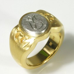 Signet ring, 925 silver, gold plated, engraving