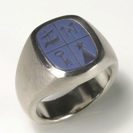 Signet ring, 950 palladium, Lagenstein, engraving