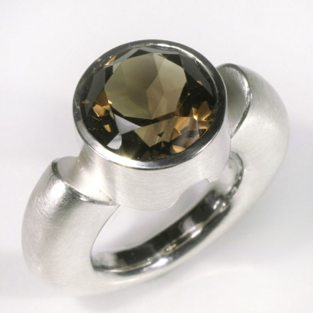 Cornucopia ring, 925 silver, smoky quartz
