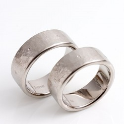 Flat wedding rings, 950 palladium, names outside