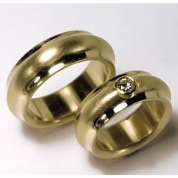 Breite, gewölbte Trauringe, 750- Gold