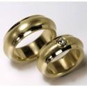 Gewölbte Trauringe, 750- Gold, Brillant