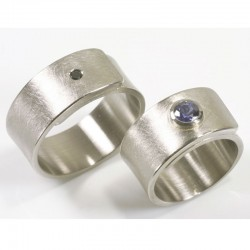 Flat, wide wedding rings, 500 palladium, diamond and sapphire