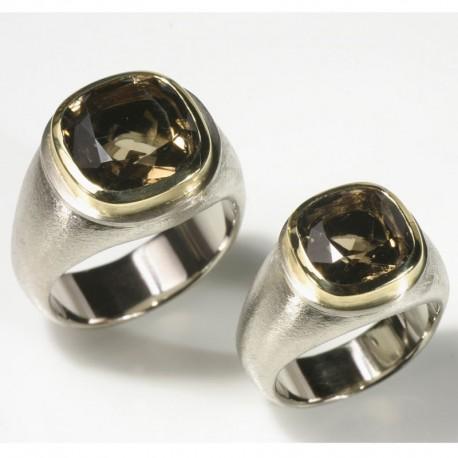 Wedding rings, signet rings, 750 white gold, 750 gold, smoky quartz