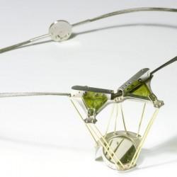 Light necklace, 925- silver, 750-AU, tourmaline, steel cable