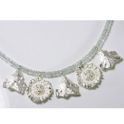Aquamarine necklace with pendants, 925 silver