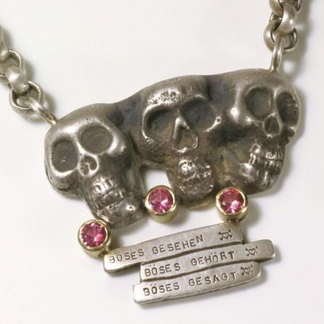 Anhänger Totenköpfe, 925- Silber, Turmaline