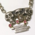 Pendant skulls, 925 silver, tourmalines