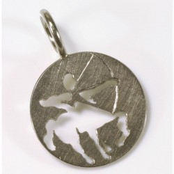 Sagittarius zodiac pendant, 750- white gold