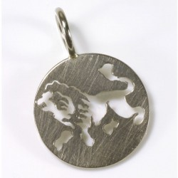 Zodiac sign pendant lion, 750 white gold
