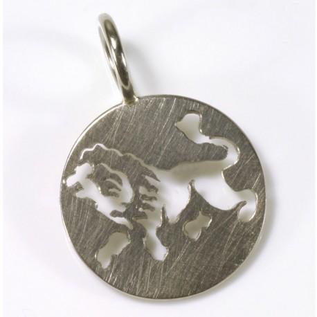 Zodiac sign pendant lion, 750 white gold