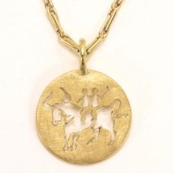 Zodiac sign pendant Taurus / Gemini, 750- gold
