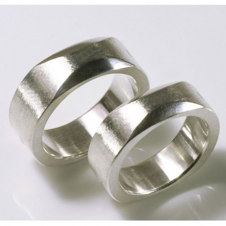 Wedding rings, 925 silver, quadrature