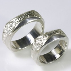 Wedding rings, 925 silver, engraved quadrature