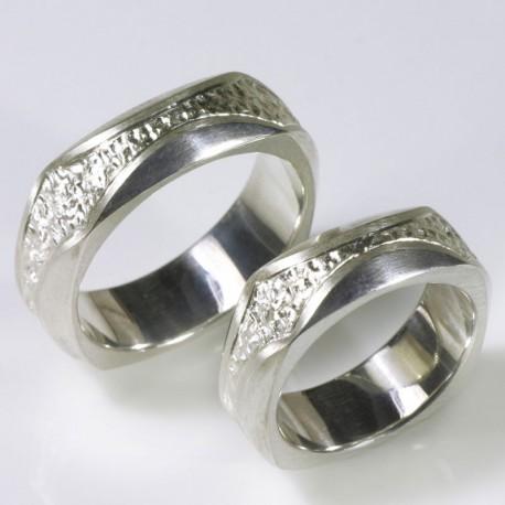 Wedding rings, 925 silver, engraved quadrature