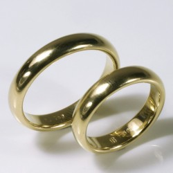Semicircular wedding rings, 750 gold