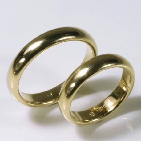 Semicircular wedding rings, 750 gold