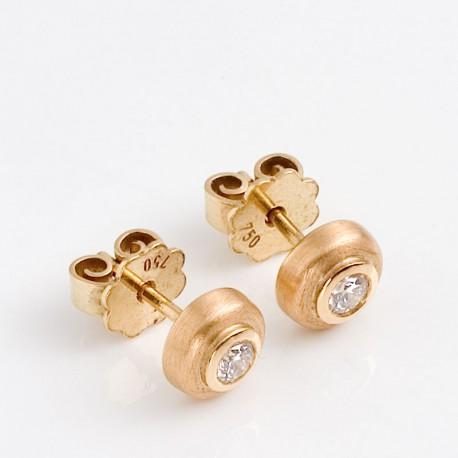 Stud earrings, 750 gold, brilliant-cut diamonds