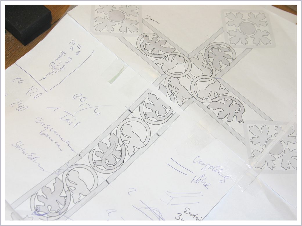 Skizze der Kreuz Ornamentik